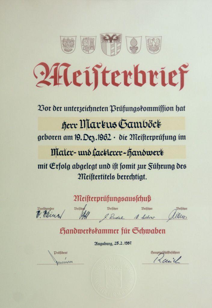 Meisterbrief Markus Gamböck